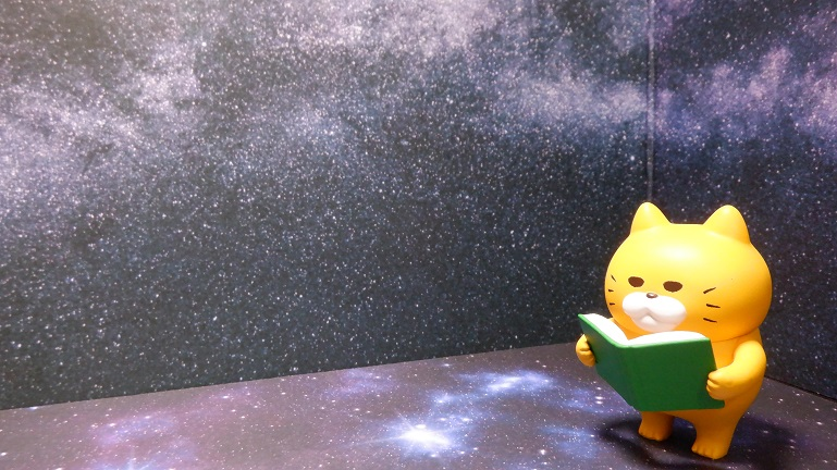 宇宙柄の撮影ボックスとノラネコぐんだんフィギュア