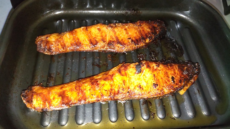 グリルパン 鮭 焼き上がり